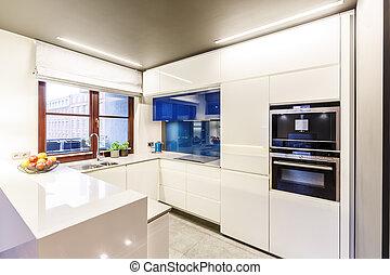 白色, 现代, 厨房, 带, 窗口