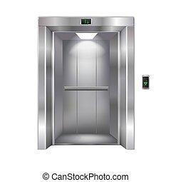 白色, 现代, 电梯, 背景