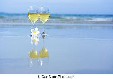 白色, 玻璃杯, 二, 酒