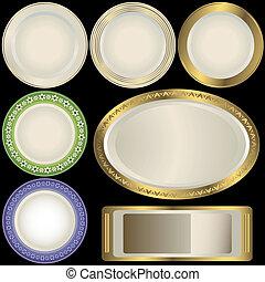 白色, 盤子, 由于, 裝飾品