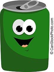 白色, 矢量, 插圖, 背景。, 罐頭, 綠色