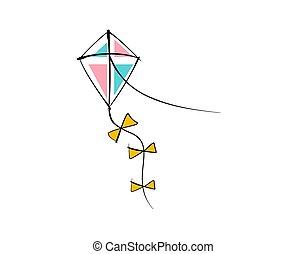 白色, 矢量, 插圖, 背景, 風箏