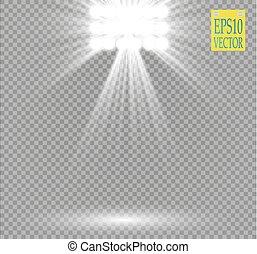白色, 矢量, 聚光灯, 光产生, 在上, 透明, 背景。, 音乐会, 发生地点, 带, 电火花, 阐明, 在以前,...