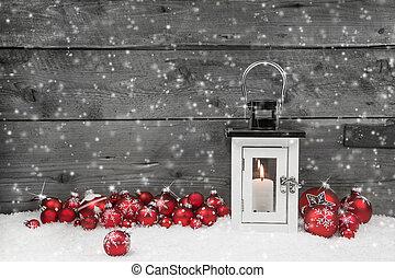 白色, 破舊, chic, latern, 為, 聖誕節, 由于, 蠟燭, 以及, 紅色, 球