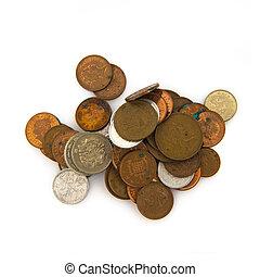 白色, 硬币, 堆, 背景