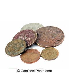 白色, 硬币, 老, 背景