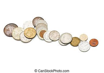 白色, 硬币, 老, 隔离, 背景