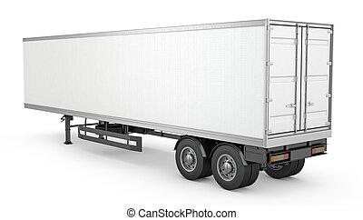 白色, 空白, 停放, 拖車, 半