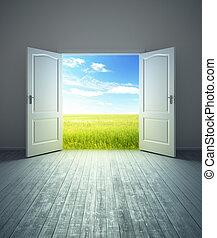 白色, 空的房間, 由于, 打開, 門