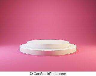 白色, 空, 柱腳, 由于, 光, 被隔离, 上, 粉紅背景