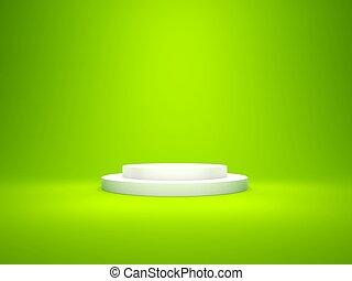 白色, 空, 柱腳, 由于, 光, 被隔离, 上, 綠色的背景