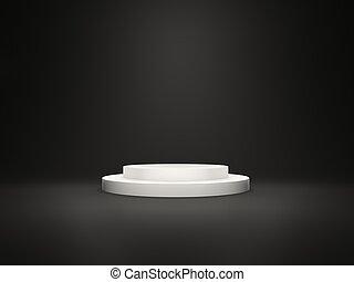 白色, 空, 柱腳, 由于, 光, 被隔离, 上, 黑色的背景