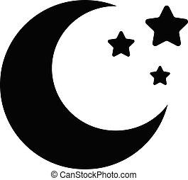 白色, 站点, app, 月亮, 星, 标志。, style., 设计, 图标, 你, 背景。, 网, 黑色, 套间, 标识语, 月牙, ui.