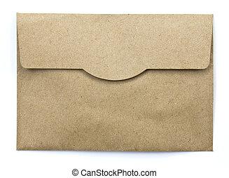 白色, 紙, 信封, 被隔离, 背景