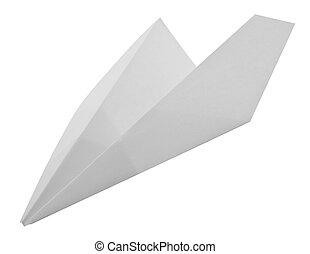 白色, 紙, 被隔离, 飛機, 背景