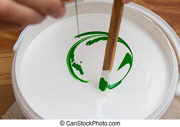 白色, 綠色, 乳膠