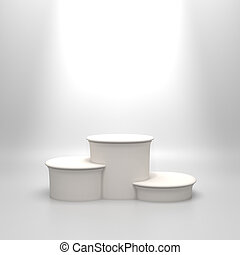 白色, 绕行, 空, podium.
