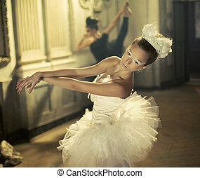 白色, 芭蕾舞, 天鵝, 由于, the, 黑色, 一, 在, the, 背景