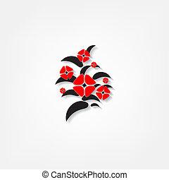 白色, 花, 紅色, 背景