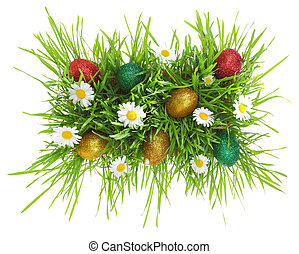 白色, 草, 復活節, 被隔离, 蛋, 花
