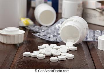 白色, 藥丸, 薄膜包裝, 以及, 藥丸瓶子