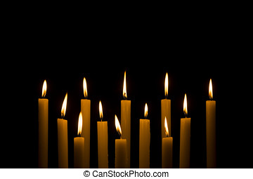 白色, 蜡燭燃燒, 上, 黑暗