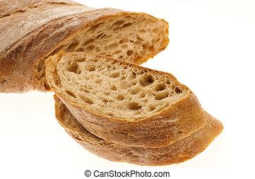 白色, 被隔离, 背景, bread