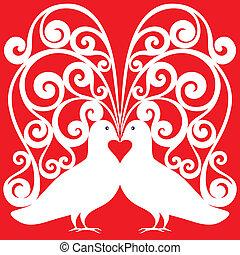 白色, 親吻, 鴿子, 對, 圖案