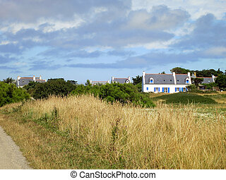 白色, 迷人, 房子, 在, 領域, 在, 法語, countryside., 布列塔尼, france.