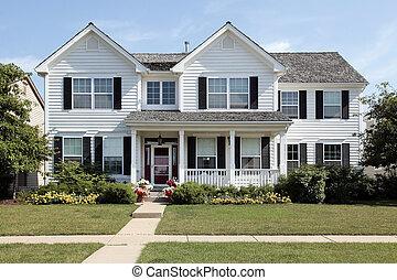 白色, 郊區的家, 由于, 前面門廊