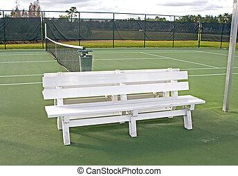白色, 長凳, 上, a, 網球場