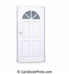 白色, 門, 稍微, 打開