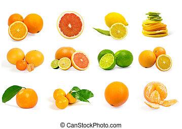 白色, 集合, 被隔离, 背景, 水果