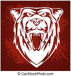 白色, -, 頭, 熊, emblem.