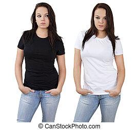白色, 黑色, 襯衫, 女性, 空白