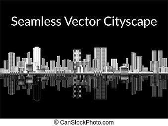 白色, 黑色, seamless, 城市