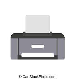 白色, 10., 描述, 套间, esp, trendy, style., 图标, 矢量, 背景。, 打印机