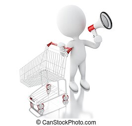 白色, 3d, 购物, cart., 人们