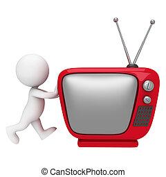 白色, 3d, 電視, 人們