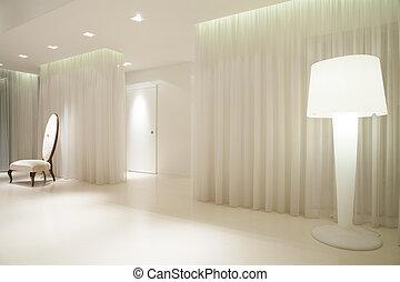白色, hallway