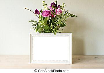 白色, mockup, 框架, 花瓶