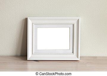 白色, mockup, 水平, frame.