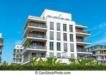 白色, multi-family, 房子, 看见, 在中, 柏林