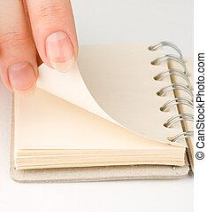 白色, notepad, 隔离, 手