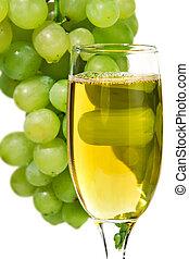白葡萄酒, 玻璃, 在背景上, ......的, a, 葡萄
