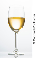 白葡萄酒, 玻璃, 照明, 從后面