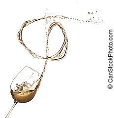 白葡萄酒, 飛濺, 在外, ......的, 玻璃, 被隔离, 在懷特上, 背景
