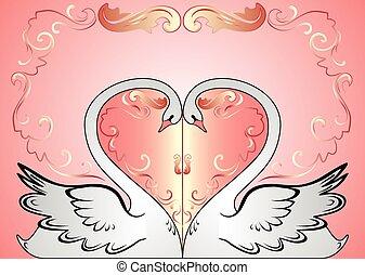 白鳥, カード, 結婚式