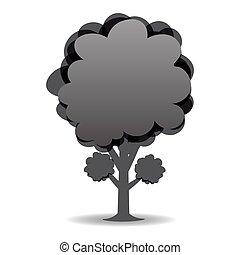 白黒, イラスト, 定型, 木。, 図画, design.