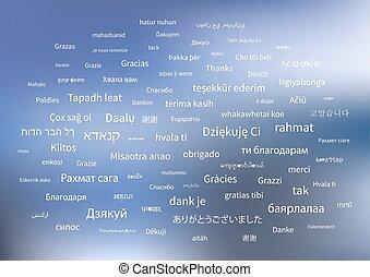 白, ありがとう, 句, 中に, 別, 言語, の, 世界, 上に, 青い背景